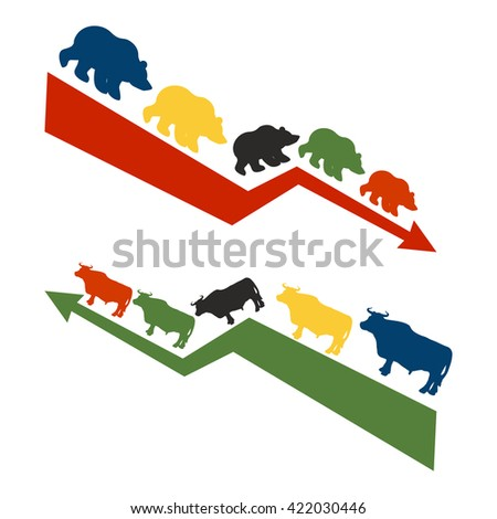 Bulls and bears. Rise and fall of quotations on stock exchange. Red down arrow international traders bears. Green up arrow world Raiders bulls - stock photo