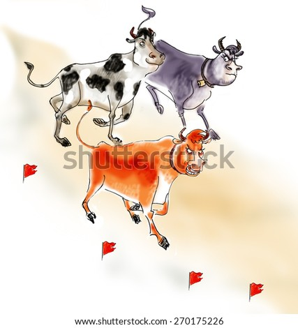 bulls are running in a cloud of dust in the style of the sketch - stock photo