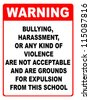 Bullying, harassment or any kind of violence are not acceptable red and black notice - stock photo