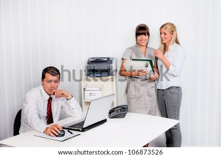 bullying in the workplace an office - stock photo