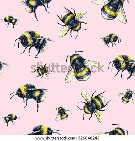 Bumblebee on a pink background. Watercolor drawing. Insects art. Handwork. Seamless pattern