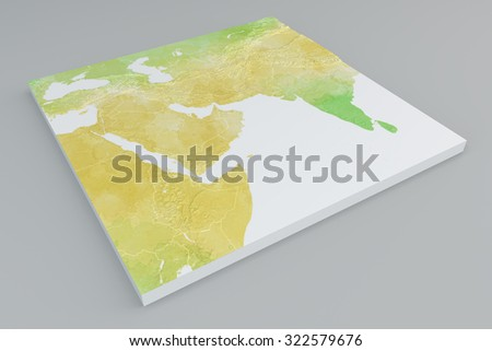 Bump physical map section of Middle East on grey background. 3d section - stock photo