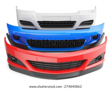 bumper bumpers isolated car auto front fender parts plastic automobile body - stock photo