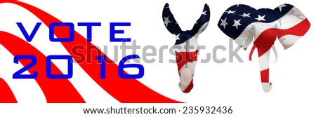 Bumper sticker for the 2016 Presidential election in the USA. - stock photo