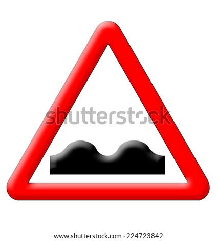 Bumps traffic sign isolated over white background - stock photo