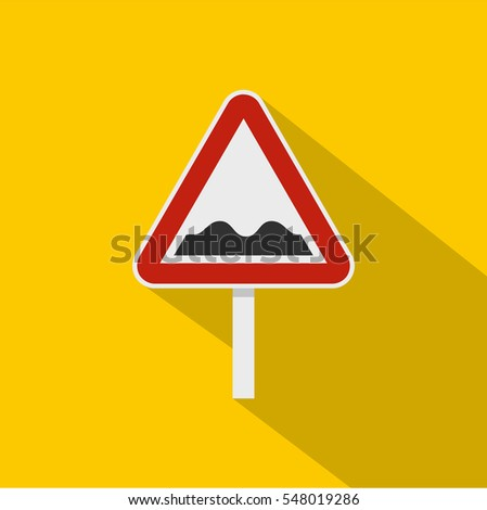 Bumpy road sign icon. Flat illustration of bumpy road sign  icon for web isolated on yellow background