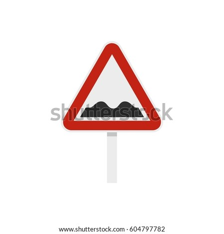 Bumpy road sign icon in flat style isolated on white background  illustration