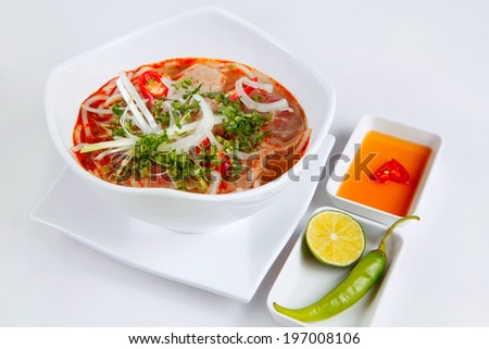 BUN BO - a kind of Vietnamese noodles with beef and normally its is spicy, a traditional food of Middle area of Vietnam - stock photo