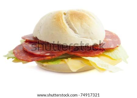 Bun with chorizo and cheese isolated over white - stock photo