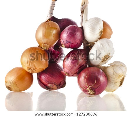 bunch bundle of onion and garlic clove isolated on white background - stock photo