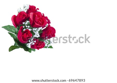 Bunch of  Artificial Roses Isolated on White