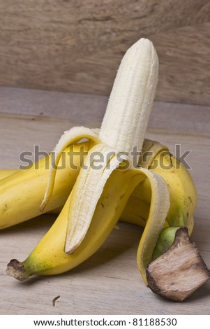 Bunch of Banana on the wood table - stock photo