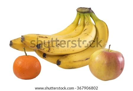 Bunch of bananas apples and mandarin - stock photo