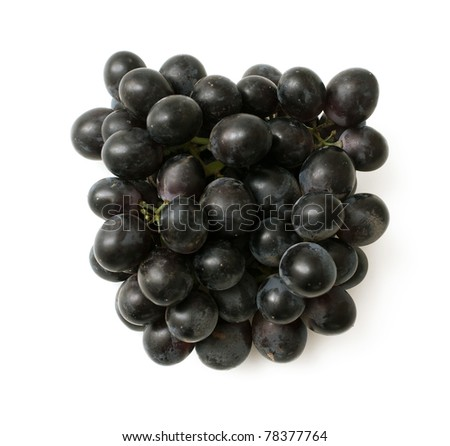 bunch of black grapes on white background