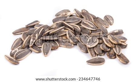 Bunch of black sunflower seeds. Isolated on a white background. - stock photo