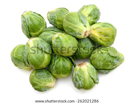 bunch of brussel sprouts on white background