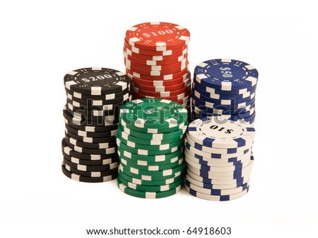 Bunch of casino chips isolated on white - stock photo