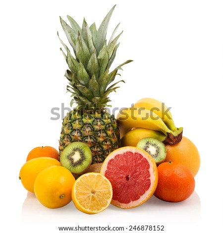 Bunch of citrus and tropical fruits   - stock photo
