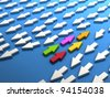 Bunch of colored arrows against the standard. Concept of teamwork and strength as computer generated image - stock photo