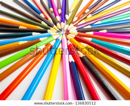 bunch of colored pencils isolated on white background - stock photo