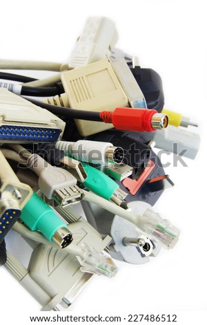 Bunch of Computer Cables with Sockets on White Background.
