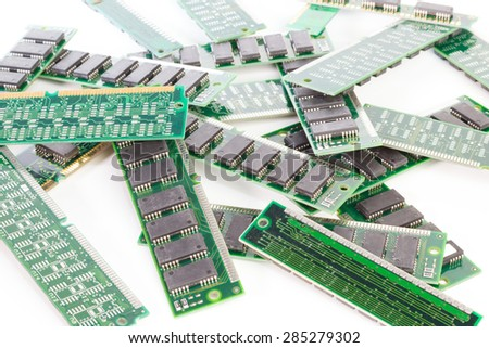 Bunch of computer memory modules against white background - stock photo