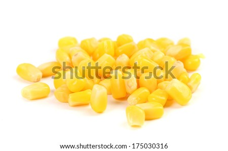 Bunch of corn grains. Isolated on a white background.