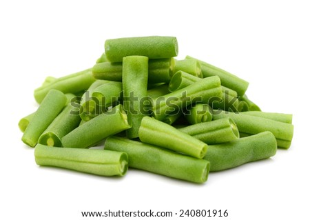 bunch of cut string beans on a white background - stock photo