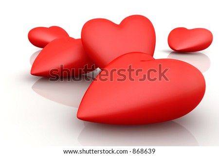 Bunch of 3D hearts on white background - stock photo