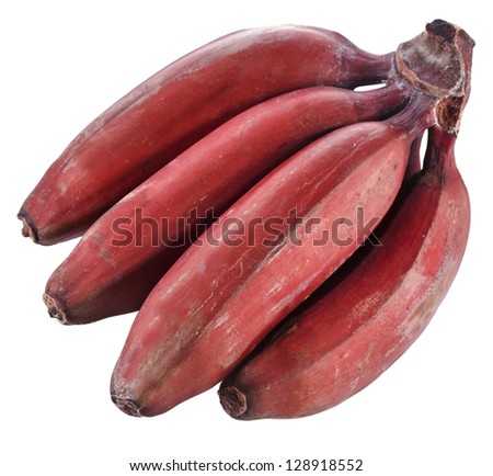Bunch of dark red bananas isolated over white background - stock photo