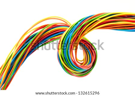 Bunch of different colors wires. Isolated  on white. - stock photo