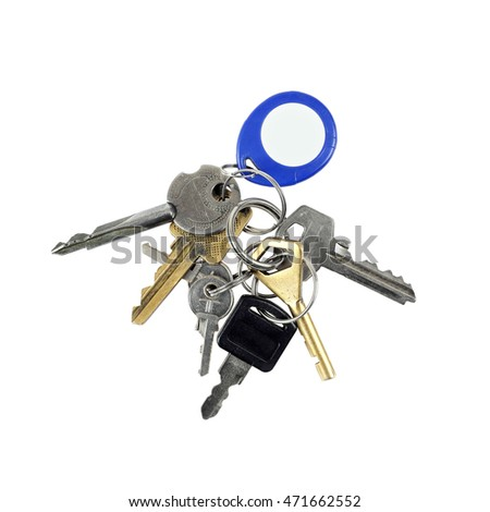 Bunch of different keys with electronic chip token on key ring isolated on white background in square