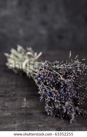 Bunch of dried lavender herb close up - stock photo