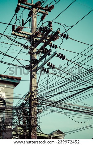 bunch of electrics and communication wires in Phuket street, Thailand - stock photo