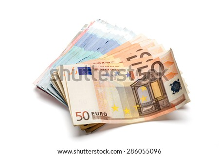 Bunch of euro banknotes of various denominations. Isolated on white