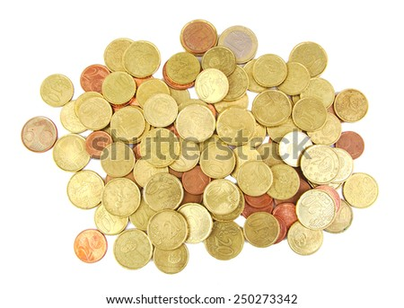 Bunch of euro coins isolated on white background - stock photo