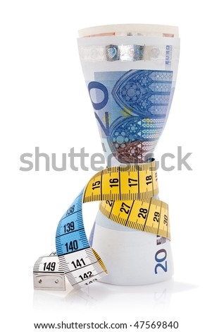 Bunch of Euro notes tied together with a tape measure - stock photo