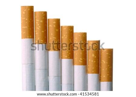 Bunch of filter-tipped cigarettes isolated on white - stock photo