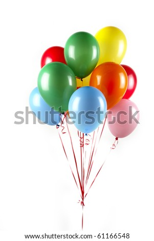 Bunch of floating, colorful balloons shot on white background with space for copy - stock photo