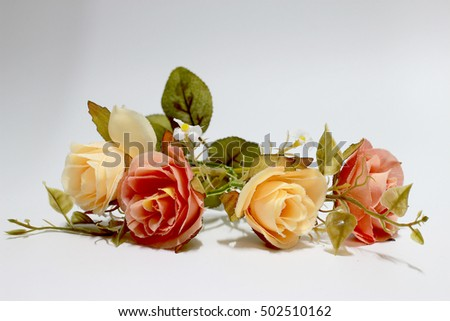 Bunch of flowers isolated on white background.