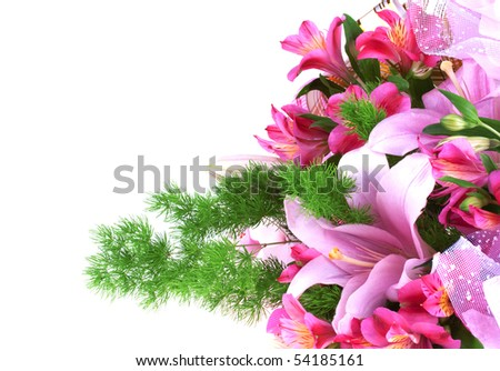 Bunch of flowers isolated on white background - stock photo