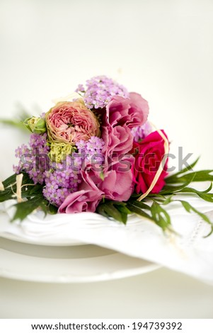 bunch of flowers on a white napkin