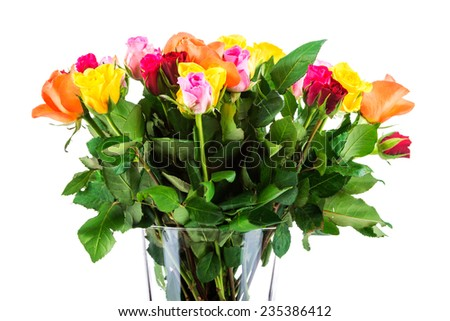 Bunch of flowers on white background - stock photo