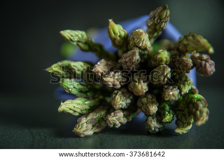 Bunch of fresh asparagus on dark background - stock photo