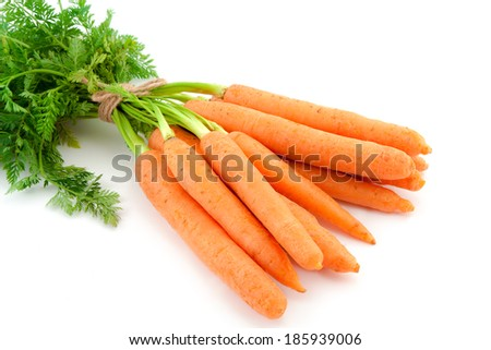 Bunch of fresh baby carrots isolated over white background. - stock photo
