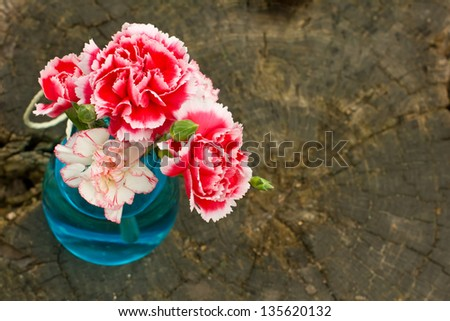 Bunch of fresh carnations in vase on wooden background. Selective focus. - stock photo