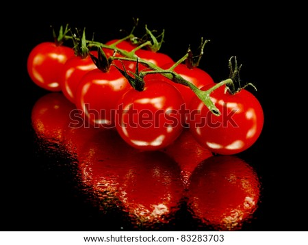 bunch of fresh cherry tomato on a black background with water drops - stock photo