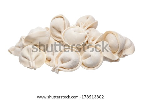 bunch of fresh frozen dumplings ready for cooking, isolated on white background - stock photo