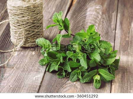 Bunch of fresh mint on the old wooden table with twine. - stock photo