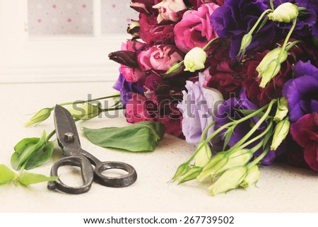 bunch of fresh purple and mauve  eustoma flowers  on table with scissors, retro toned  - stock photo